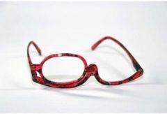 Rode Melleson Optics Make up bril +4.00 met handige etui en 2 stuks brilspray