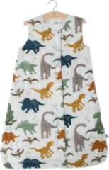 Witte Little Unicorn Cotton Muslin slaapzak Dino Friends - maat Medium