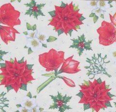 Rode Ambiente Servetten Christmas Flowers Cream 33 x 33 cm