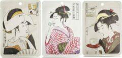 Witte Mitomo Japan Mitomo Ukiyoe Gezichtsmasker - Award Winning Collection Face Mask - Gezichtsverzorging Masker - 3 Stuks