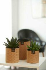 Naturelkleurige OOhh duurzame paper pot - Paris Cylinder naturel S - Set van 2