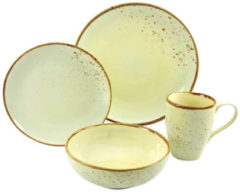 CreaTable Serie NATURE COLLECTION Skandinavien, Geschirrset Single Set 4 teilig CREME