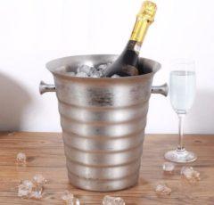 Roestvrijstalen Decopatent® RVS ijsemmer - Champagne ijs emmer met handvat - Champagnekoeler - Drankemmer - Wijnkoeler - 26x22x22.5 Cm - Zilver
