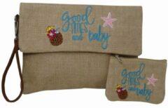 Jessidress Ibiza Style Envelope tas Handtasje met borduursels en Portemonee Handtas van Jutte - Blauw
