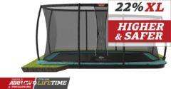 Groene BERG trampoline Ultim Champion Flatground 410 + Safety Net DLX XL