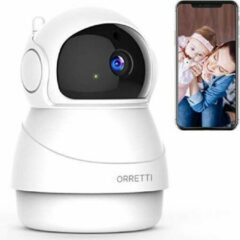 Orretti® X8 1080P FHD WiFi IP Beveiligingscamera met Bewegingsdetectie - Bewakingscamera - Babyfoon met camera - Wit