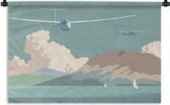 1001Tapestries Wandkleed Zweefvliegen illustratie - Een illustratie weefvliegtuigen die over de kust vliegen Wandkleed katoen 60x40 cm - Wandtapijt met foto