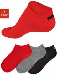Puma Sokken Invisible Sneaker Zwart/grijs/rood 3 Stuks Mt 35-38