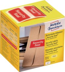 Avery Zweckform 7311 veiligheid verzegeling, 38 x 20 mm, opdruk Security Seal, 1 rol/200 etiketten, rood