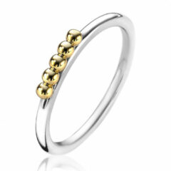 Zinzi ZIR1969 Ring Bolletjes zilver- goudkleurig Maat 50