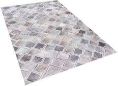 Beliani AGACLI Vloerkleed Grijs Leer 140 x 200 cm