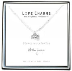 Life Charms Ketting met Giftbox Silver Puffed Hearts