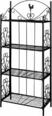 Merkloos / Sans marque Opbergrek opbergkast rek met planken keukenrek staand plantenrek zwart 153cm