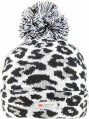 Thinsulate Grijze/zwarte panterprint/luipaardprint muts -voor dames/vrouwen Luipaard/panter dieren artikelen - Winterkleding/buitenkleding
