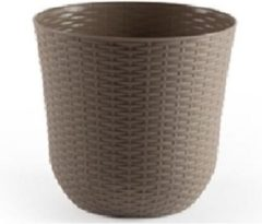 Bruine Forte Plastics 2x Taupe plantenbakken/bloempotten 25 cm - Woon/tuinaccessoires/decoratie - Ronde bloempotten/plantenpotten voor binnen/buiten