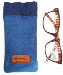 Donkerblauwe Toetie & Zo Handgemaakte Brillenkoker Jeans - Denim - Spijkerstof - Blauw - Knijpsluiting - Brillenetui - Brillentas - Snappouch