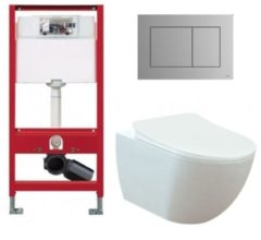 Douche Concurrent Tece Toiletset - Inbouw WC Hangtoilet wandcloset - Creavit Mat Wit Rimfree Tece Now Mat Chroom