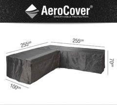 Grijze Aerocover loungesethoes - L-vorm - L 255 x L 255 x B 100 x H 70 cm