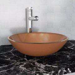 Bruine VidaXL Wasbak gehard glas 42 cm bruin