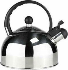Alpina Kitchen & Home RVS fluitketel / waterkoker 2,5 liter zilver/zwart - Waterkoker - Fluitketels - Water koken