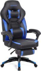 Songmics Gamestoel - Bureaustoel met Voetsteun - Zwart/Blauw - Verstelbare armleuningen