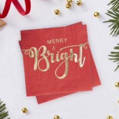 """Ginger ray Red & Gold – Servetten Rood met Gouden letters """"Merry & Bright"""""""