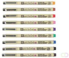 Sakura Tekenstift Pigma Micron 05, Etui Met 9 Stuks In Geassorteerde Kleuren