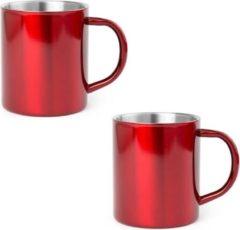 Shoppartners 2x Drinkbeker/mok rood 280 ml - RVS - Rode mokken/bekers voor onbijt en lunch