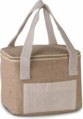 Merkloos / Sans marque Kleine koeltas jute/canvas naturel 20 cm - 5 liter - Koelboxen/koeltassen - Lunchtrommel/lunchtas
