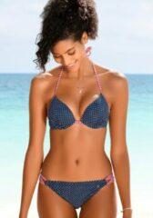 Blauwe S.Oliver Beachwear Push-upbikinitop »Avni«, met patroonmix