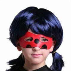 Spaansejurk NL Ladybug pruik meisje blauw zwart verkleedpruik bij Ladybug kostuum prinsessen verkleedkleding