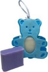 La Maison du Savon de  Marseille Cadeau pakketje zeepzakje beertje blauw met 2x 30 gram zeepjes karite en lavendel - Geboorte