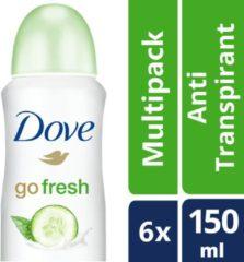 Dove Go Fresh Cucumber & groen Tea Women - 150 ml - Deodorant Spray - 6 stuks - Voordeelverpakking