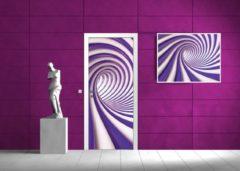 Paarse Fotobehangart Deursticker Muursticker 3D, Design   Paars   91x211cm