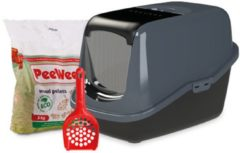 Antraciet-grijze PeeWee Kattenbak EcoHus Startpakket - Zwart - 56 x 39 x 38,5 cm