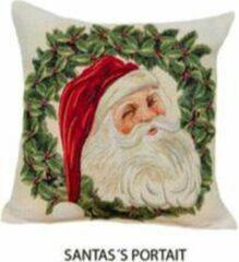 Groene Emme Kussenhoes Kerst Santa's Portrait Sierkussenhoes Sierkussen