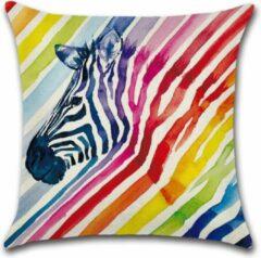 By Javy Kussenhoes Rainbow - Zebra - Kussenhoes - 45x45 cm - Sierkussen - Polyester