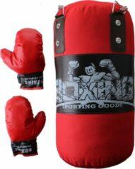 Jonotoys Bokszak Met 2 Handschoenen Junior Rood/zwart