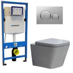 Douche Concurrent Geberit UP 320 Toiletset - Inbouw WC Hangtoilet Wandcloset - Alexandria Sigma-20 Mat/Glans Chroom