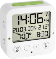 TFA 60.2528.02 Wekker Zendergestuurd Wit, Groen Alarmtijden 2