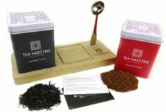 Dutch Tea Maestro - losse thee blikje - thee cadeau - theeplank / theeplateau - ROOIBOS & EARL GREY - origineel cadeau