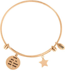 CO88 Collection Inspirational 8CB 11018 Stalen Armband met Hangers - Family is a Circle of Strength and Love en Levensboom - One-size - Goudkleurig