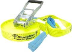 BCF-products Slackline-set Basic M, 50 mm, lengte 10 m totaal (8+2 m), verkeersgeel
