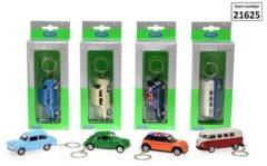 Rode WELLY 1:60 auto sleutelhanger rvs 4-ass. Volkswagen Beetle VW T1 Mini Cooper of Trabant