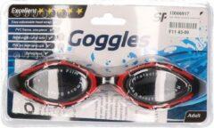 SportX Anti chloor zwembril zwart/rood voor volwassenen