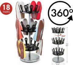 Tatkraft 360 Graden Draaibaar Schoenenrek - 3 Etages - Stevig Metalen Schoenen Rek - Staand Shoe Rack - 18 Paar Schoenen Opbergen - Schoenencarrousel - Zwart