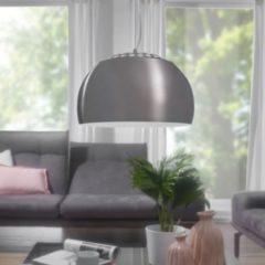 Wohnling Design Pendelleuchte STONI Ø 32cm Hängelampe mit Metallschirm silber Lampe mit Loft-Flair Metalllampe nickel matt 1 flammig Deckenleuchte