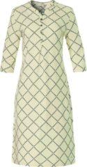 Gele Dames nachthemd met driekwart mouwtje en knoopjes 'symmetrical block of diamonds'
