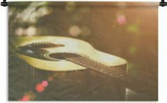1001Tapestries Wandkleed Akoestische gitaar - Abstract portret van een akoestische gitaar Wandkleed katoen 180x120 cm - Wandtapijt met foto XXL / Groot formaat!