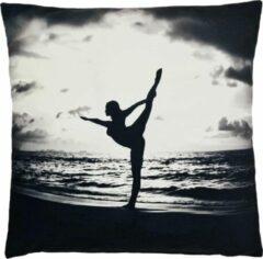 Grijze Decolenti | Yoga Pilates Sierkussenhoes | Zwart | Wit | Wasbaar | Decoratie | 45cm x 45cm
